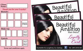 loyalty card beautiful ambition hair salon loughrea galway